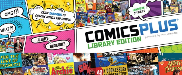 The comics plus library edition logo is a busy logo that looks like a panels of a comic book page with images of  comic book covers.